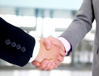 handshake isolated on white background.